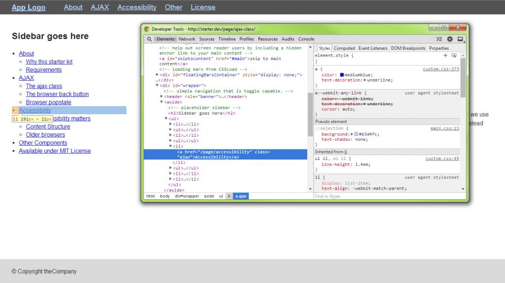 Screenshot of AJAX class