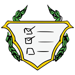 Captain Planner's crest - a checklist on a shield
