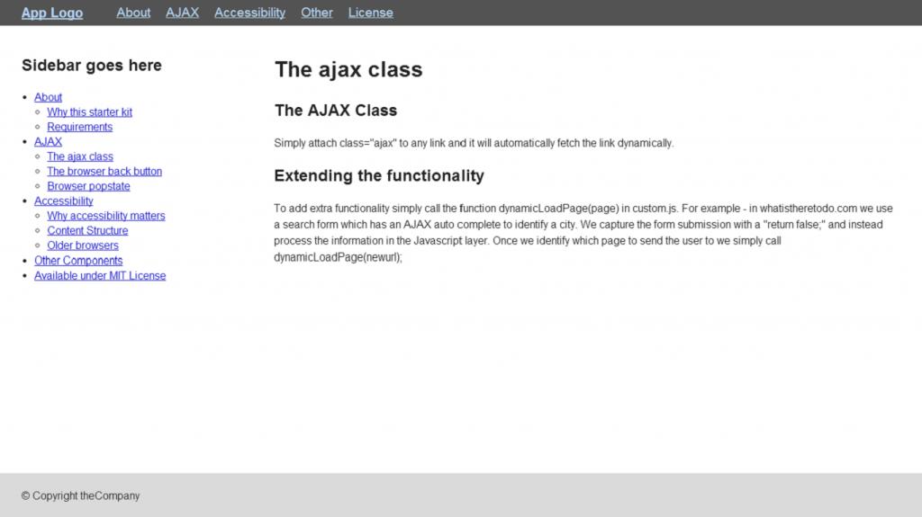 Standard page screenshot