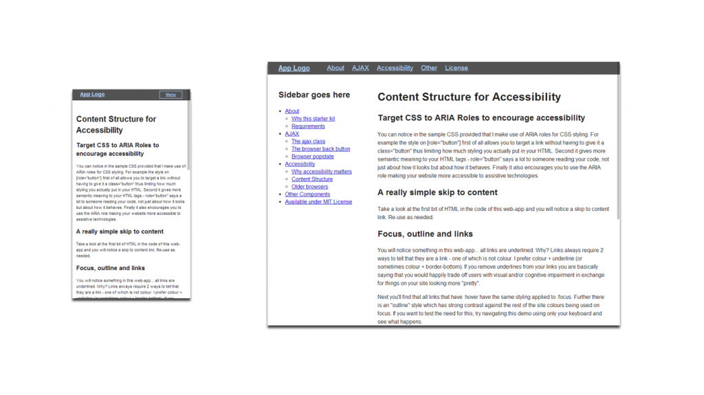 Screenshot of responsive comparison